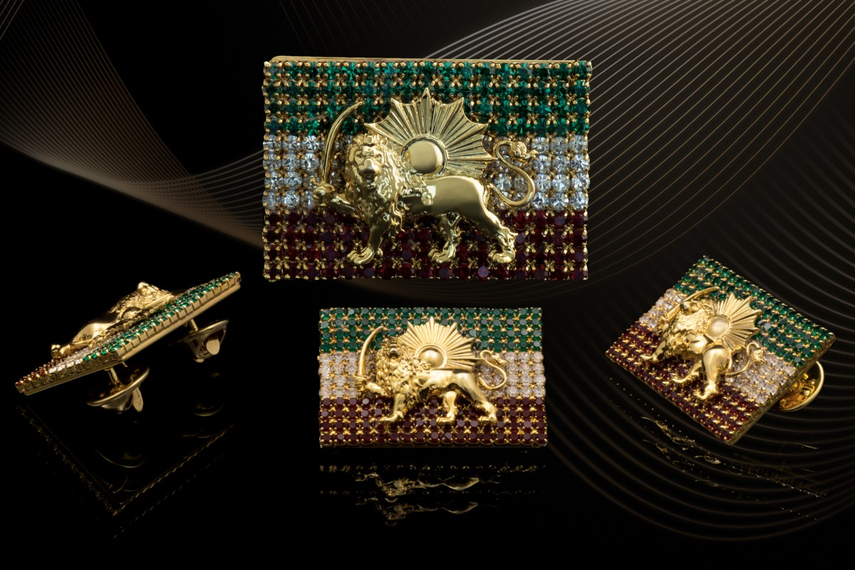 The Lion and Sun Flag Brooch